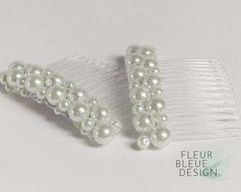 bridal hair jewelry set | pearl hair comb | white bridal hair comb | bridal hair accessory | pearl haircomb |  pearl hair jewelry | white