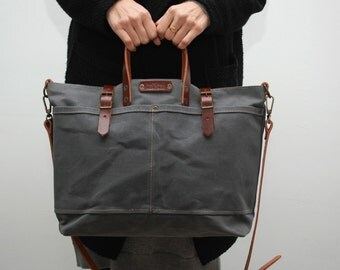 waxed canvas/tote bag/ bag with leather handles and closures,charcoal color
