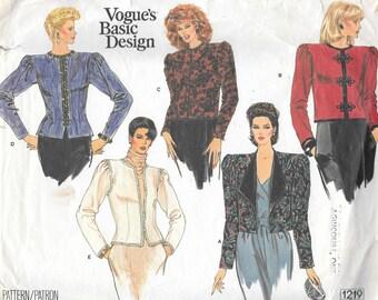 Vintage 1980s Vogue Basic Design Sewing Pattern 1219 - Misses' Jacket size 12 bust 34 uncut