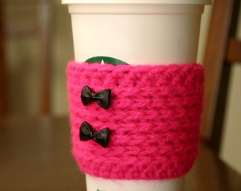 Hot Pink Reusable Coffee Cozy Sleeve Bows
