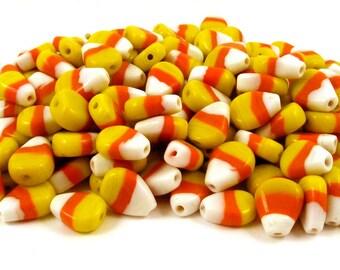Glass Candy Corn Beads - Lampwork Halloween Beads - Fall Theme Beads - Bulk Lot Beads -  Lot of Beads - Cute Beads - Charm Bracelet Beads