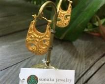 Granulation Hoop Earrings, Filigrie Hoop, Bali Handmade Earrings, Sterling Silver hoop