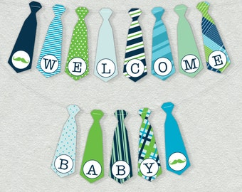 Printable Little Man Baby Shower Banner - Bow Tie Shower Decor, Customizable DIY Banner Printable with ALL Letters And Numbers - Boy Shower