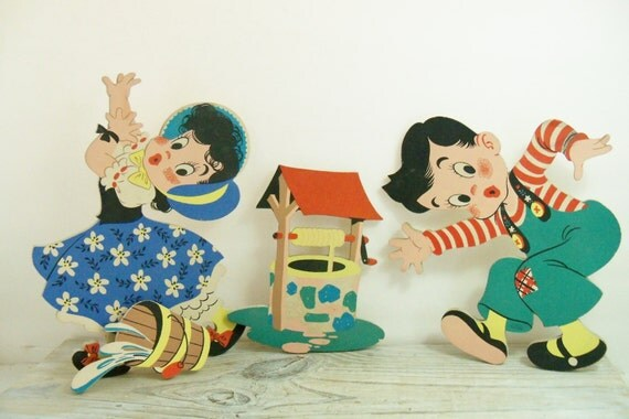 Vintage Nursery Art Decor Wall Hanging Vintage Dolly Toy Company Jack and Jill Die Cut Wall Figures Kids Room Decor 1949 4 Pieces