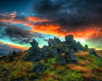 Volcanic Rocks at Sunset
