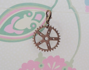 Bronze Steampunk/Gear Clip On Bracelet Charm/Purse Charm/Zipper Pull Charm/Planner Charm - Ready to Ship