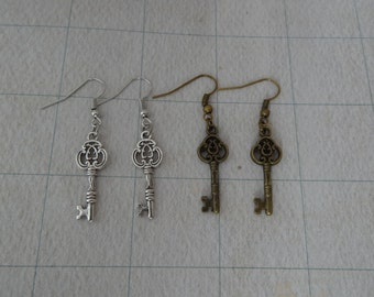 Filigree Key Earrings in Antique Bronze with Fish or Kidney - Ready to Ship