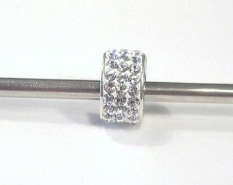 1 Clear Crystal  Bead with 925 Sterling Silver Core, Large Hole, European Style