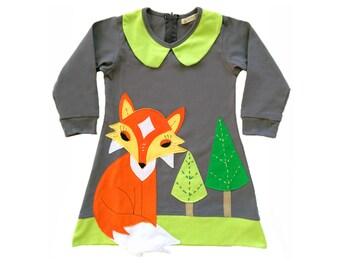 Fox Dress in Gray & Lime, Woodland, Fox, Girls Dress