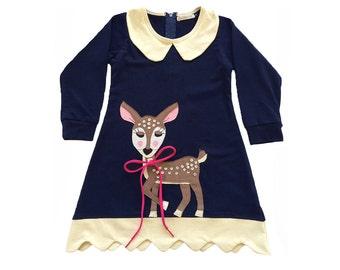 Doe a Deer Dress in Navy, Woodland, Bambi, Deer Dress, Baby Deer, Sequins