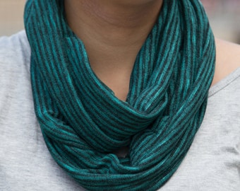 Evergreen and Black Heathered Striped Infinity Scarf (Cowl)