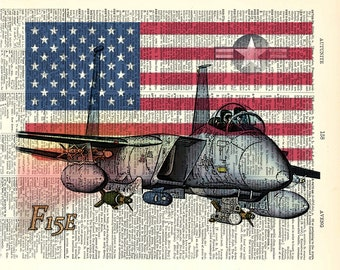 "F15 E Airplane with Flag. Dad Gift. Gift for Him  Vintage book page art print. Printed art on book page.  Fits 8""x10"" frame."