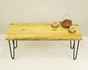 live edge coffee table, reclaimed wood table, dining bench hairpin coffee table, slab coffee table, sofa table, Table Bench