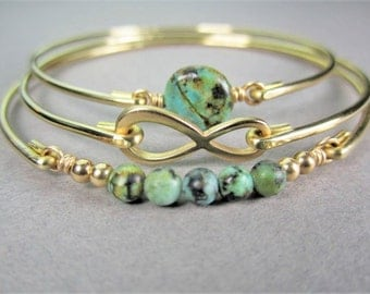 Gold Infinity and African Turquoise Bracelet Set, Gold Bracelet, Bangle Bracelet, Infinity Symbol, Gifts For Her, Bridesmaid Gift, Gifts