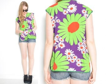 vintage 60s top mod floral daisies daisy print shirt purple green twiggy smock top shirt 1960s clothing M L medium large