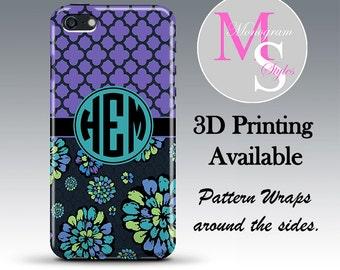 Monogram iPhone 6 Case Personalized Phone Case 'Indigo Pop' Monogrammed iPhone 6 Plus Iphone 4, 4S, iPhone 5S, iPhone 5C Tough Case #2619