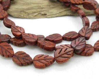 Brown Stone Leaf Bead, Burnt Sienna Magnesite Leaf, Autumn Leaf Bead, 12x8mm (8)