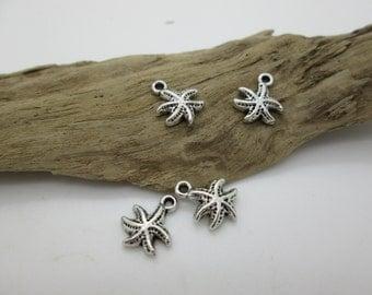 Silver Starfish Charm, Tiny Starfish, Beach Charm, 11mm (4)