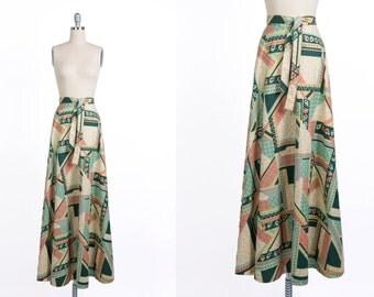 Vintage 1960s Wrap Skirt// Vintage Tie Up Skirt