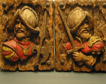 Vintage Pair of Spanish Conquistadors Wall Plaques Universal Statuary Corp.