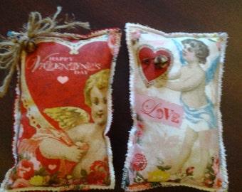 Valentine's Day bowl fillers. Pillow tucks. Victorian,  shelf sitter