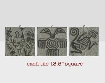 midcentury modern tiles, modern art tiles, midcentury art tiles, wall decor tiles,  vintage decorative wall relief, folk art relief,