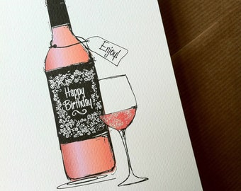 ROSE WINE Birthday Card