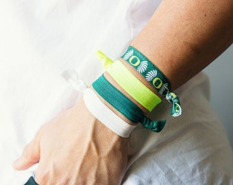 University of Oregon Hair Ties, Oregon, Ducks, Eugene, Game Day Hair Ties, Game Day Jewelry, College Gifts, Green and Yellow