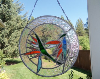 Round Bird of Paradise Stained Glass Panel