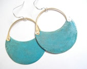 Patina Copper Hoop Earrings, Blue Green Verdigris Patina Earrings, Riveted Earrings, Cold Connection Earrings, Contemporary Hoop Earrings