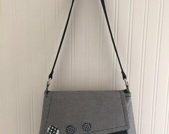Black and White Check handbag. Handmade, Unique.