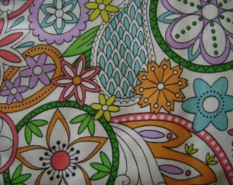 Colorful Floral Cotton Fabric Sold by the Yard