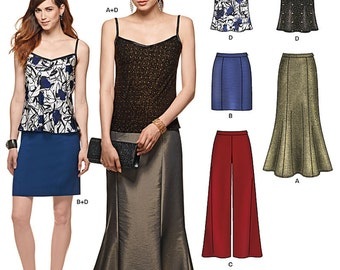 New Look Pattern 6328 Misses'  floor length skirt, pencil skirt, wide leg pants and bias camisole