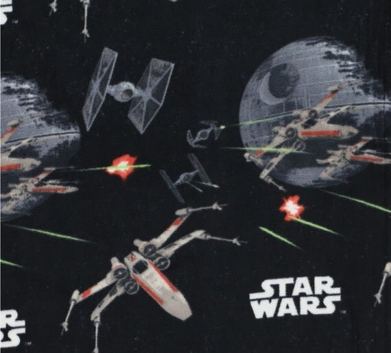 Star wars spaceships black fleece fabric sold by the yard for Star wars fabric