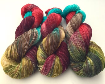 Hand Dyed Yarn--Rad Paisley on Superwash 75 Merino/25 Nylon Sock