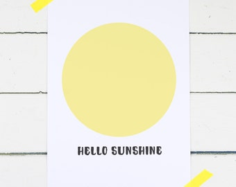 "Personalised Nursery Print - Personalised New Baby Print - Personalised New Baby Gift - ""Hello Sunshine"" Print - Personalised Baby Gift"