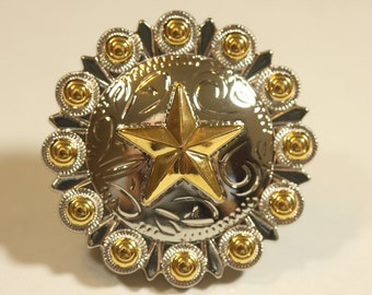 Fancy Western Style Star Knob - Two Tone