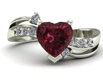 Rhodolite Garnet Ring - Heart with Diamonds - 14k White Gold - An Original Design by Charles Babb