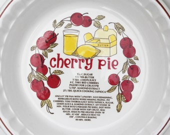 Cherry Pie Ceramic Dish , Serving Plate by Hankook , Made in Korea , Pie Recipe Collectible Dish , Cherry Pie Recipe Platter , Pie Dish
