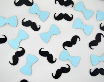 Mustache and Bow Tie Confetti - 100 Pieces - Little Man Baby Shower - Lil Man First Birthday - 1st Birthday - Table Scatter - Laser Cut