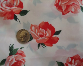 Vintage fabric white with red roses lightweight polyester or nylon by the yard