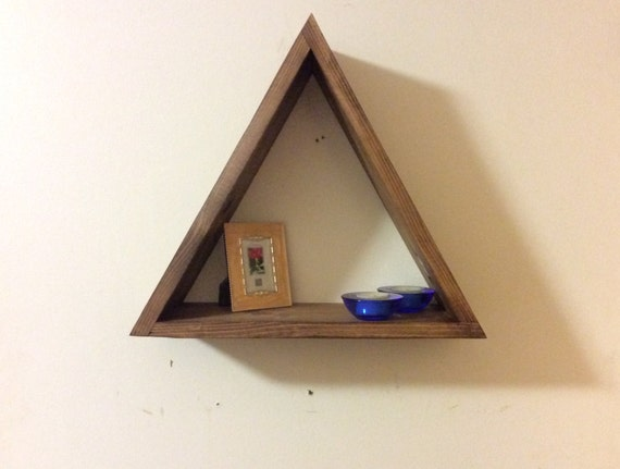 Triangle floating shelf triangular shelf geometric shelves - Triangular bookshelf ...