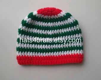 Baby Boy Crochet Beanie Hat, Newborn Christmas Hat, Infant Christmas Hat, Baby Boy Christmas Photo Prop
