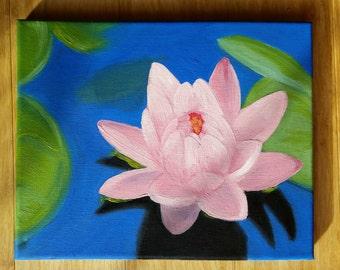 oil painting lotus flower spring flower floral pink original artwork