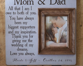 Parents Thank You Gift, Wedding GIft for Parents from Bride and Groom, Personalized Photo, Custom Colors, Names and date 116x16 Frame