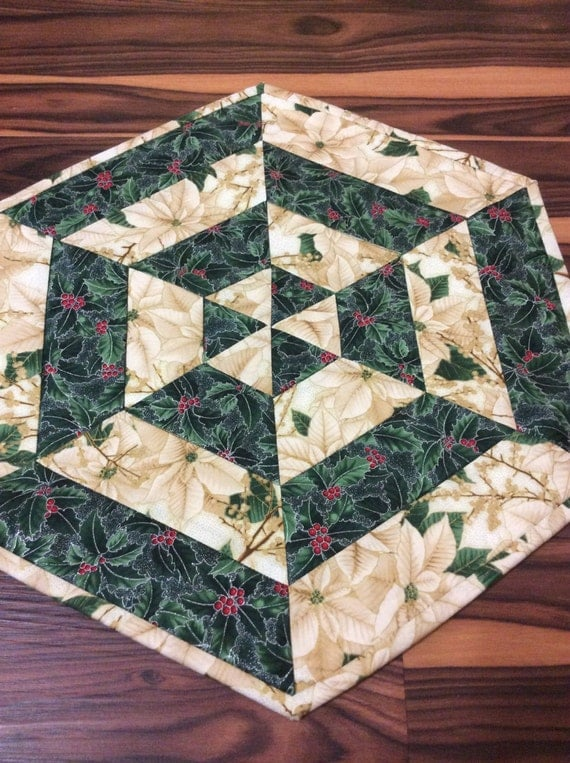Metallic christmas centerpiece quilted table topper gold