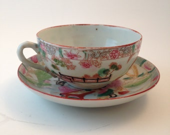 Japanese Geisha Girl Authentic Tea Cup and Saucer Set Vintage