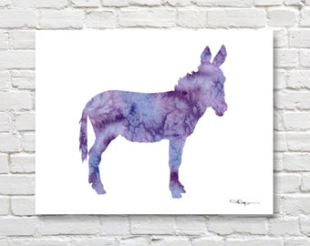 Purple Donkey Art Print - Abstract Burro Watercolor Painting - Wall Decor