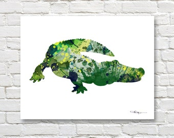 Alligator Art Print - Abstract Watercolor Painting - Wall Decor