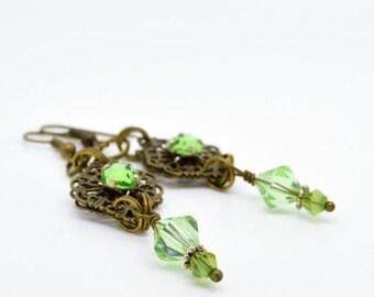 Green Earrings, Crystal drop earrings, Bronze Jewellery, glass and crystal earrings, Crystal jewellery, crystal earrings, drop earrings